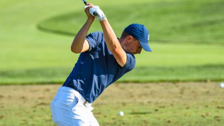 Jordan Spieth hits balls on the practice range following the second round of the WGC-Bridgestone Invitational.