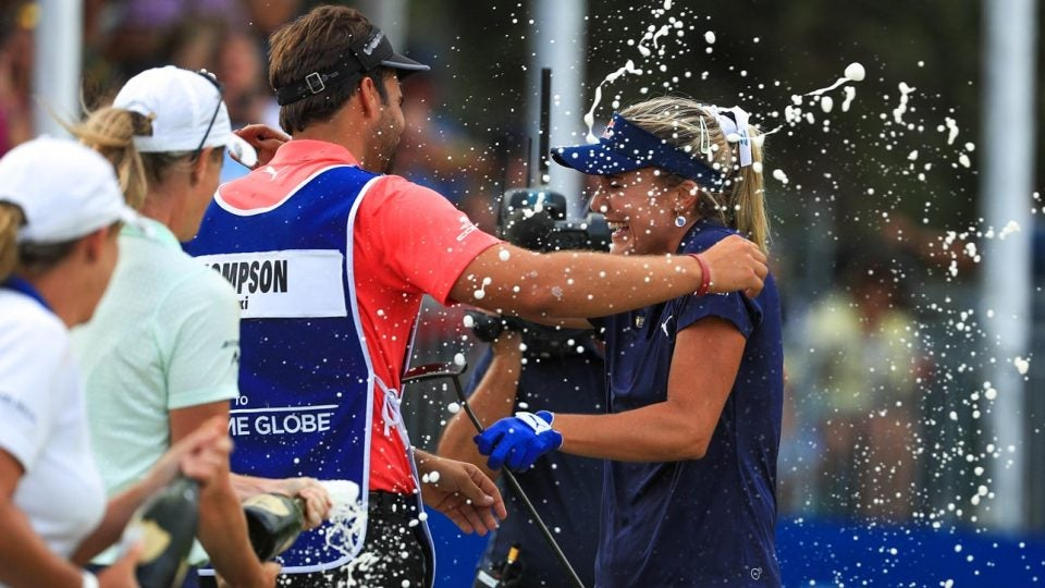 Lexi Thompson celebrates her victory at the 2018 CME Group Tour Championship. She'll win a lot more money if she can defend her title in 2019.