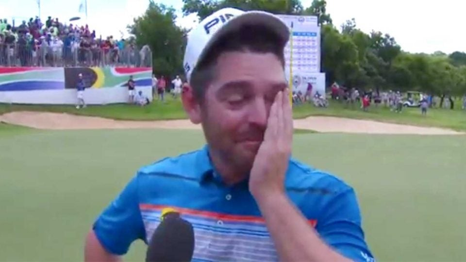 Louis Oosthuizen gives a post-round interview after his victory in South Africa.