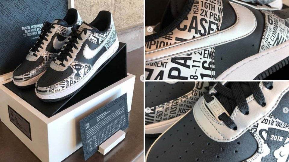 Paul Casey posted these photos of his custom Nike Air Force 1 golf shoes on Instagram.