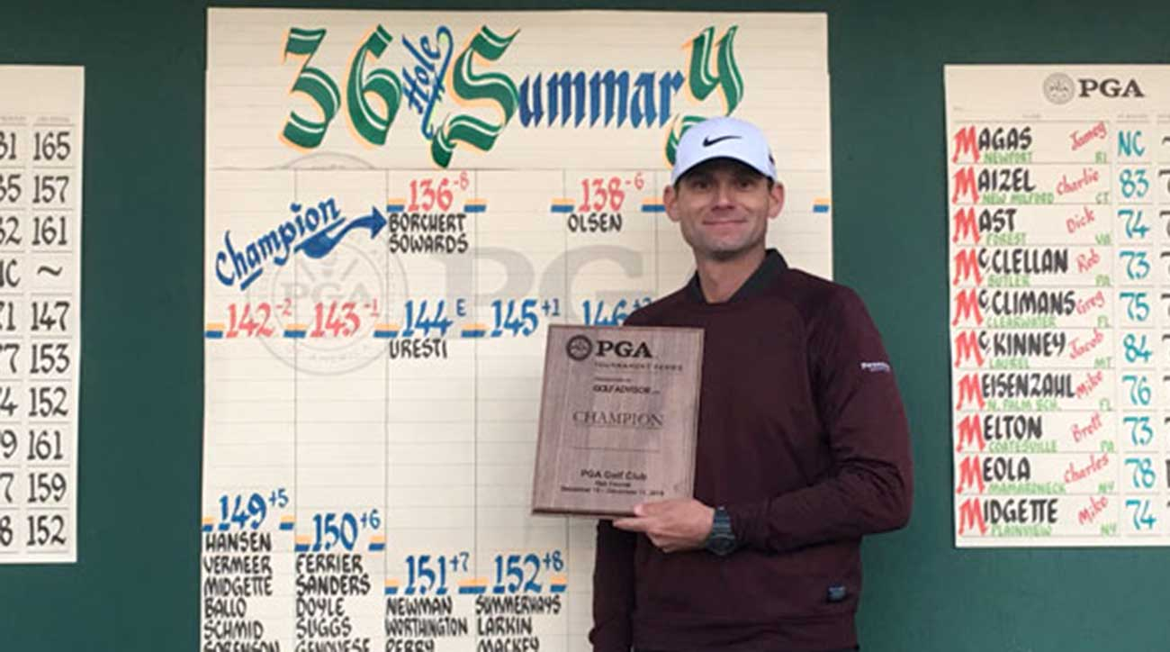 Matt Borchert holds up his winning plaque.
