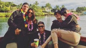 Rickie Fowler and fiancee Allison Stokke (left) with Justin THomas (center), Brad Gehl and Michelle Wie.