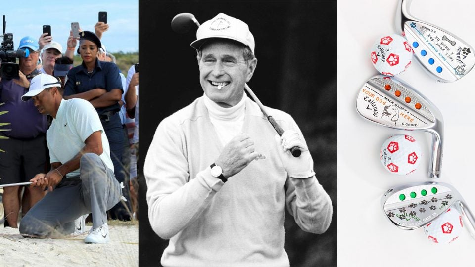 Tiger Woods, George H.W. Bush and Callaway clubs.