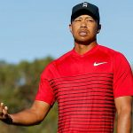 Tiger Woods reacts after a missed putt at the 2018 Farmers Insurance Open.