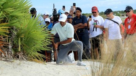 Tiger Woods was nearly charged with a two-stroke penalty for this suspected double hit at the 2018 Hero World Challenge.
