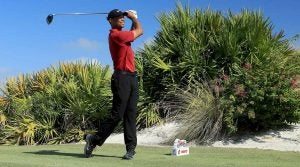 Tiger Woods tees off during the final round of the Hero World Challenge on Sunday.