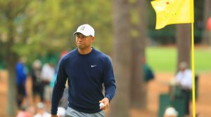 Tiger Woods acknowledges the patrons during the 2018 Masters at Augusta National.