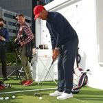 Tiger Woods wields a Scotty Cameron mallet putter in Australia earlier this week.