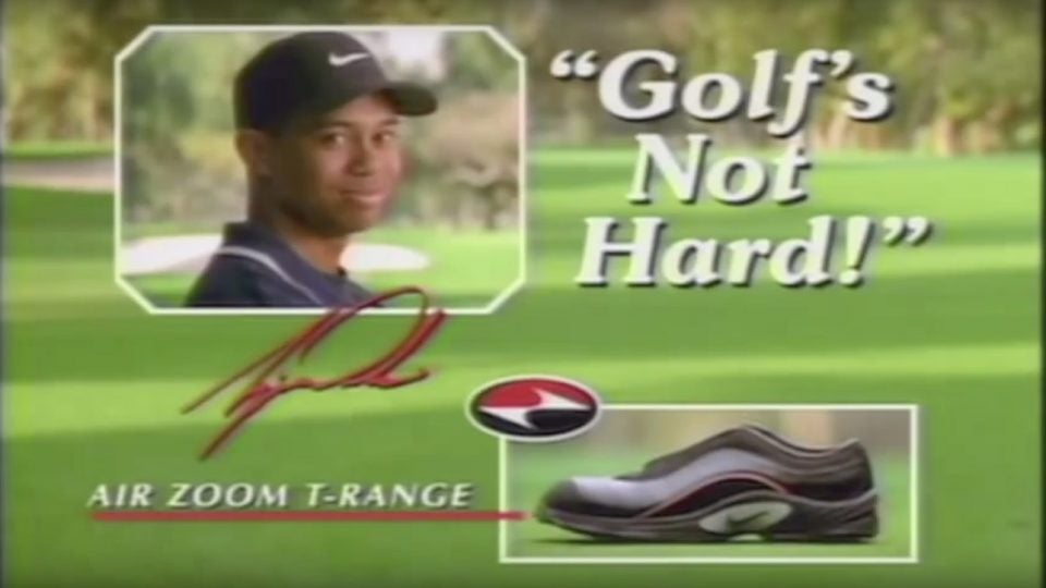 """A freeze frame from Tiger Woods's """"Golf's Not hard"""" TV spot for Nike."""