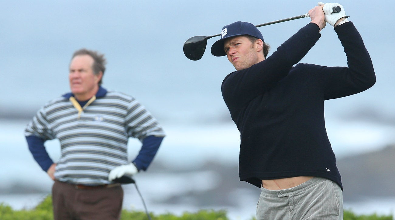 PEBBLE BEACH, CA - FEBRUARY 07: New England Patriots quarterback Tom Brady and Bill Belichick during the second round of the 2014 AT&T Pebble Beach Pro Am.