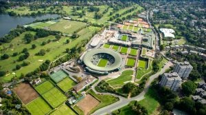 Wimbledon Park Golf Club can be seen to the left of the tennis courts in this photo of the All England Tennis Club.