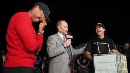 Tiger Woods and Phil Mickelson during The Match.