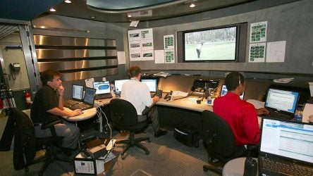 Golf TV broadcast control room