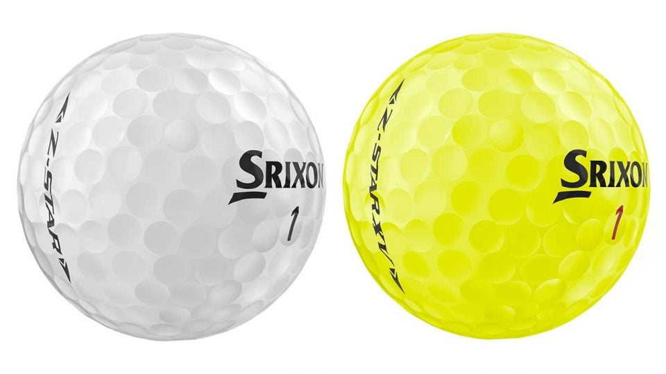 A white and yellow golf ball from the Srixon Z-STAR series.