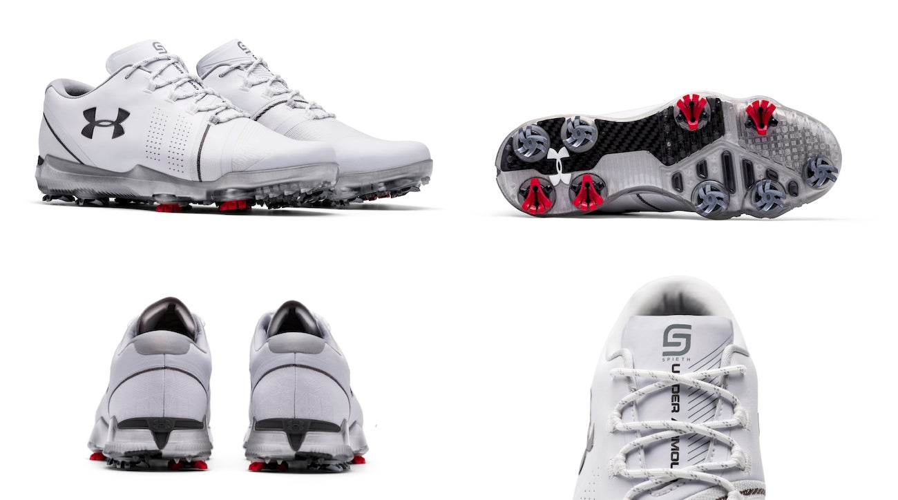 0e17eafb370984 A look at Under Armour s Spieth 3 golf shoe from all angles.