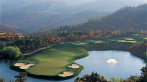 An overhead shot of the par-3 8th hole at Spring City in China.