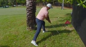 Brooks Koepka attempts to win the double hit challenge.