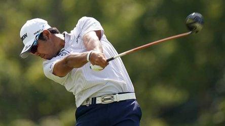 Hideki Matsuyama tees off during the 2018 PGA Championship.