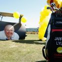 The golf bag of Jarrod Lyle is seen during the Memorial Service for Australian golfer Jarrod Lyle