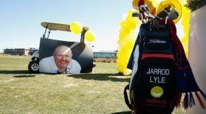 The golf bag of Jarrod Lyle is seen during the Memorial Service for Australian golfer Jarrod Lyle