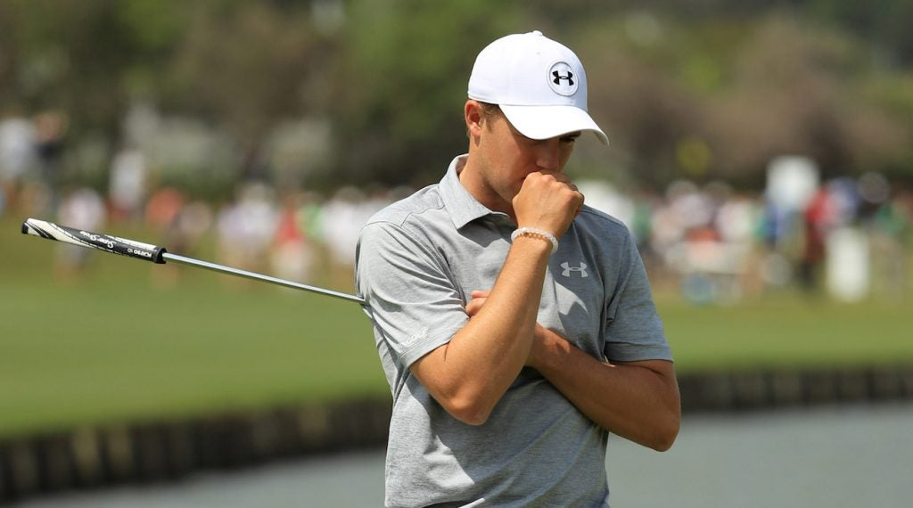 Jordan Spieth reacts after missing a putt during round one of the WGC-Dell Technologies Match Play.