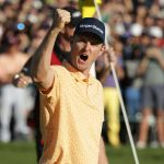 Justin Rose celebrates his victory on Sunday at Torrey Pines.