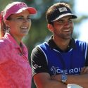 Lexi Thompson talks with her caddie and brother, Curtis Thompson, at the LPGA CME Group Tour Championship in 2018.