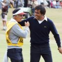 Seve Ballesteros and caddie Nick DePaul at the 1984 Open Championship at St. Andrews.