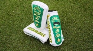 The custom Odyssey beer tap putter covers for the 2019 Waste Management Phoenix Open