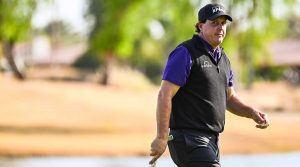 Phil Mickelson walks off the green on Friday at the Desert Classic.
