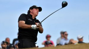 Phil Mickelson watches a tee shot during Sunday's final round of the Desert Classic.