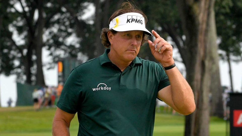Phil Mickelson walks off the green during the FedEx Cup Playoffs.