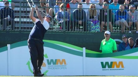 Phil Mickelson tees off during the 2019 Waste Management Phoenix Open