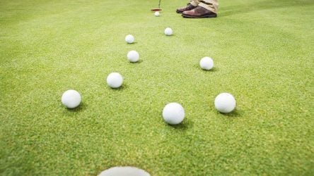 Putting practice on the green.