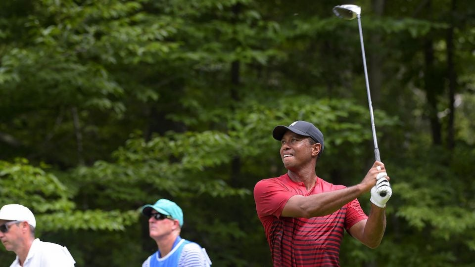 Tiger Woods went back to Mitsubishi's Diamana D+ White Board shaft during the playoffs.