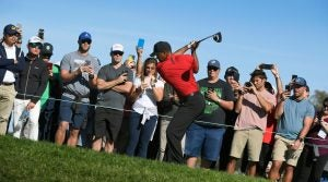Tiger Woods tees off during the final round of the 2018 Farmers Insurance Open
