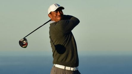 Tiger Woods tees off during a practice round at the 2019 Farmers Insurance Open