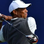 Tiger Woods tees off during the first round of the 2019 Farmers Insurance Open