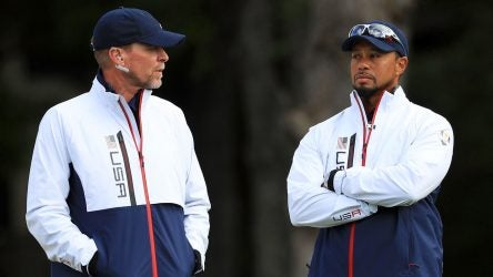 Steve Stricker (left) and Tiger Woods were both vice captains of the 2016 U.S. Ryder Cup team.