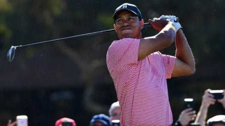 Tiger Woods hits a tee shot during the final round of the Farmers Insurance Open on Sunday in La Jolla, Calif.