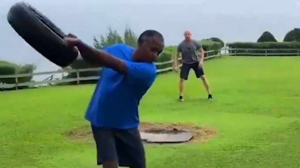 PGA Tour veteran Vijay Singh goes through his workout in a recent video.