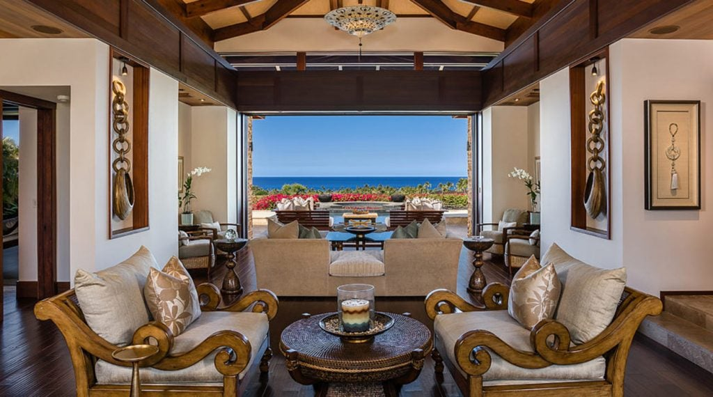 The great room has a picture perfect view of the Pacific Ocean.