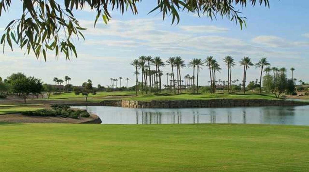 A view over the water at the seventh green at Cimarron.