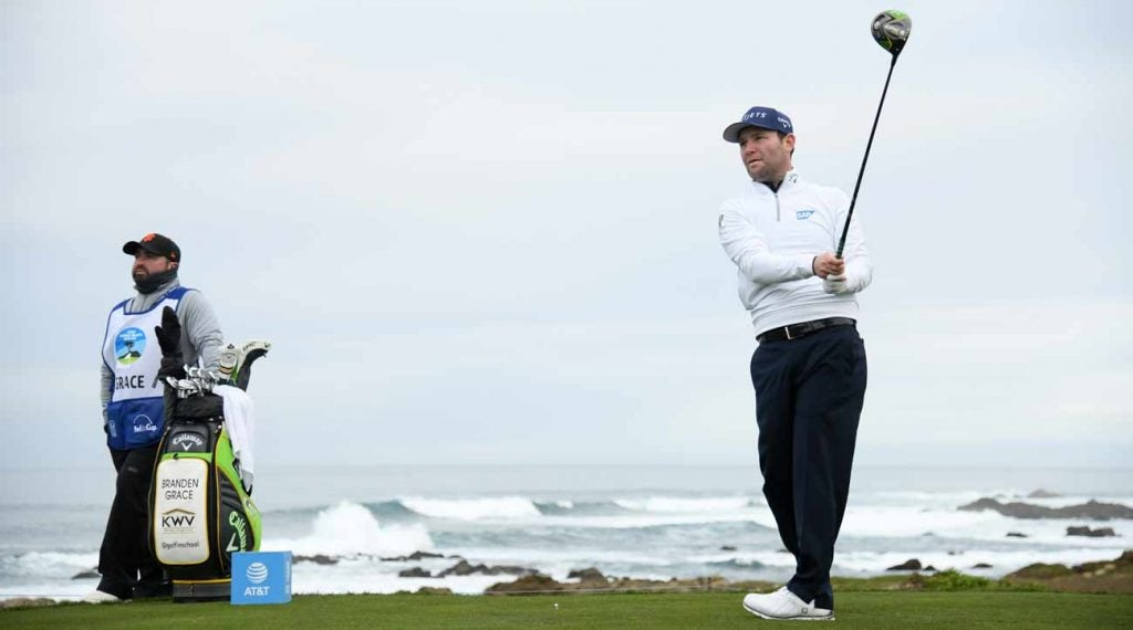 Branden Grace tees off in the second round of the AT&T Pebble Beach Pro-Am