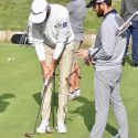 Dustin Johnson and TaylorMade Tour rep Chris Trott discuss Spider Tour putters.