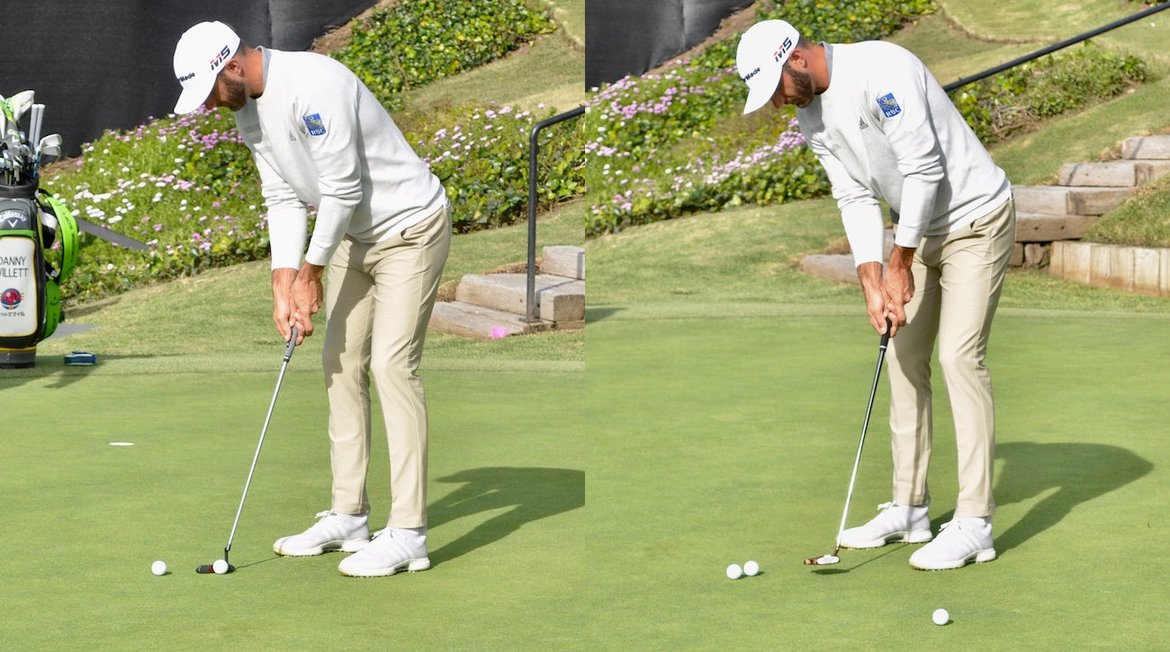 Dustin Johnson tests TaylorMade's TP Black Copper Juno prototype (L), and a 2019 Spider Tour (R).
