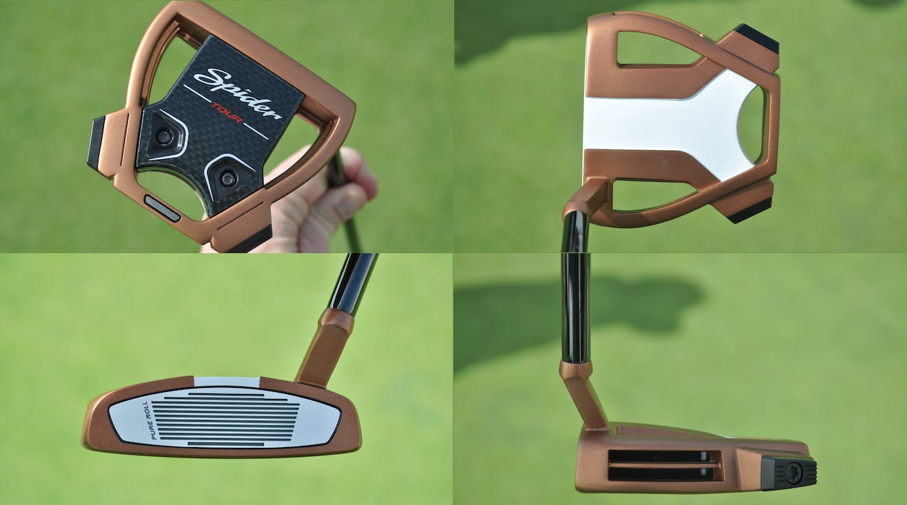 In-hand photos of Dustin Johnson's TaylorMade 2019 Spider Tour putter.