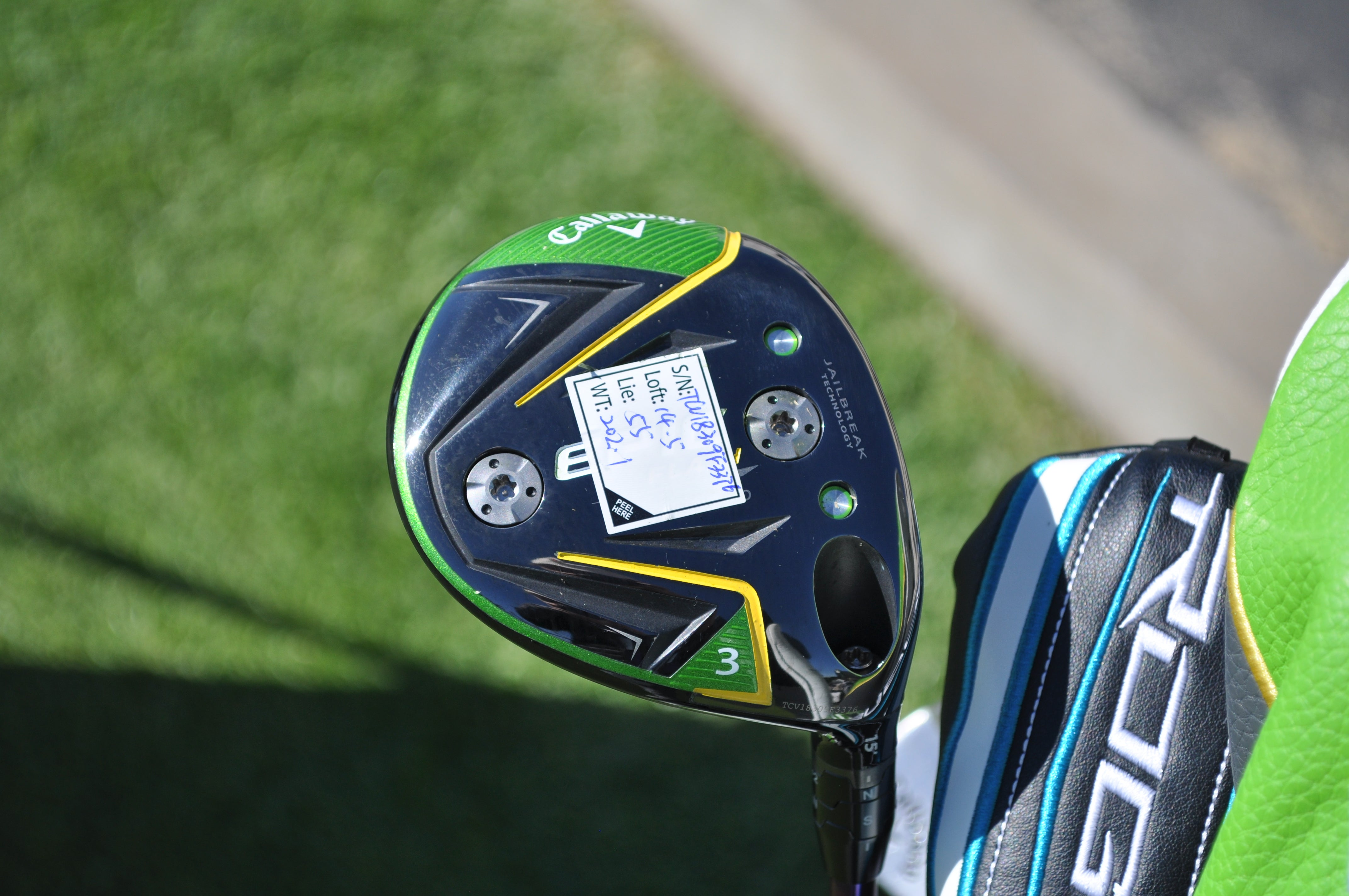 Sang Moon Bae's fairway wood specs are affixed to the sole of his Callaway Epic Flash Sub Zero 3-wood.