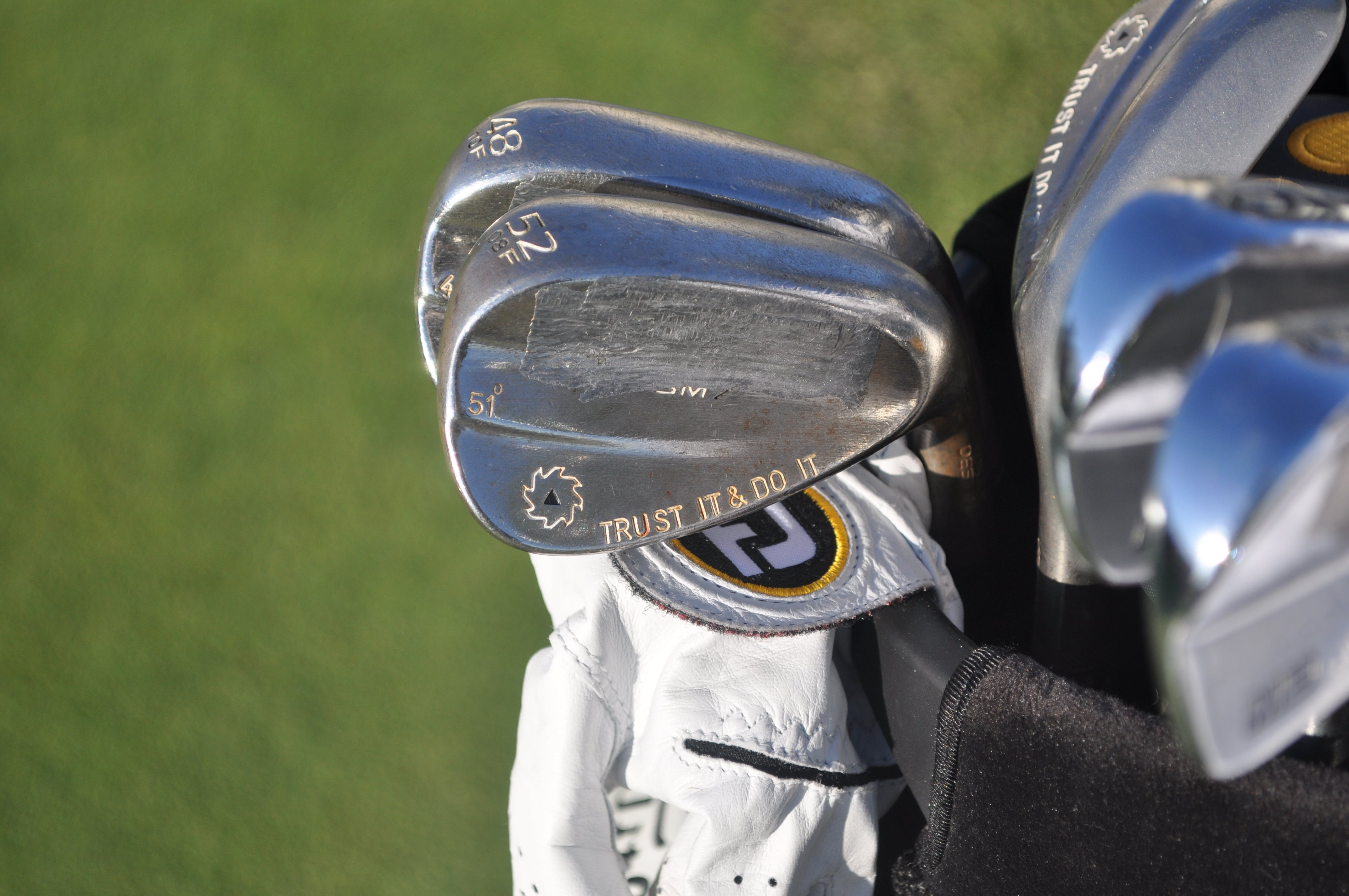 "Whee Kim stays positive with the ""Trust it Do it"" stamping on his Titleist Vokey Design SM7 wedge."