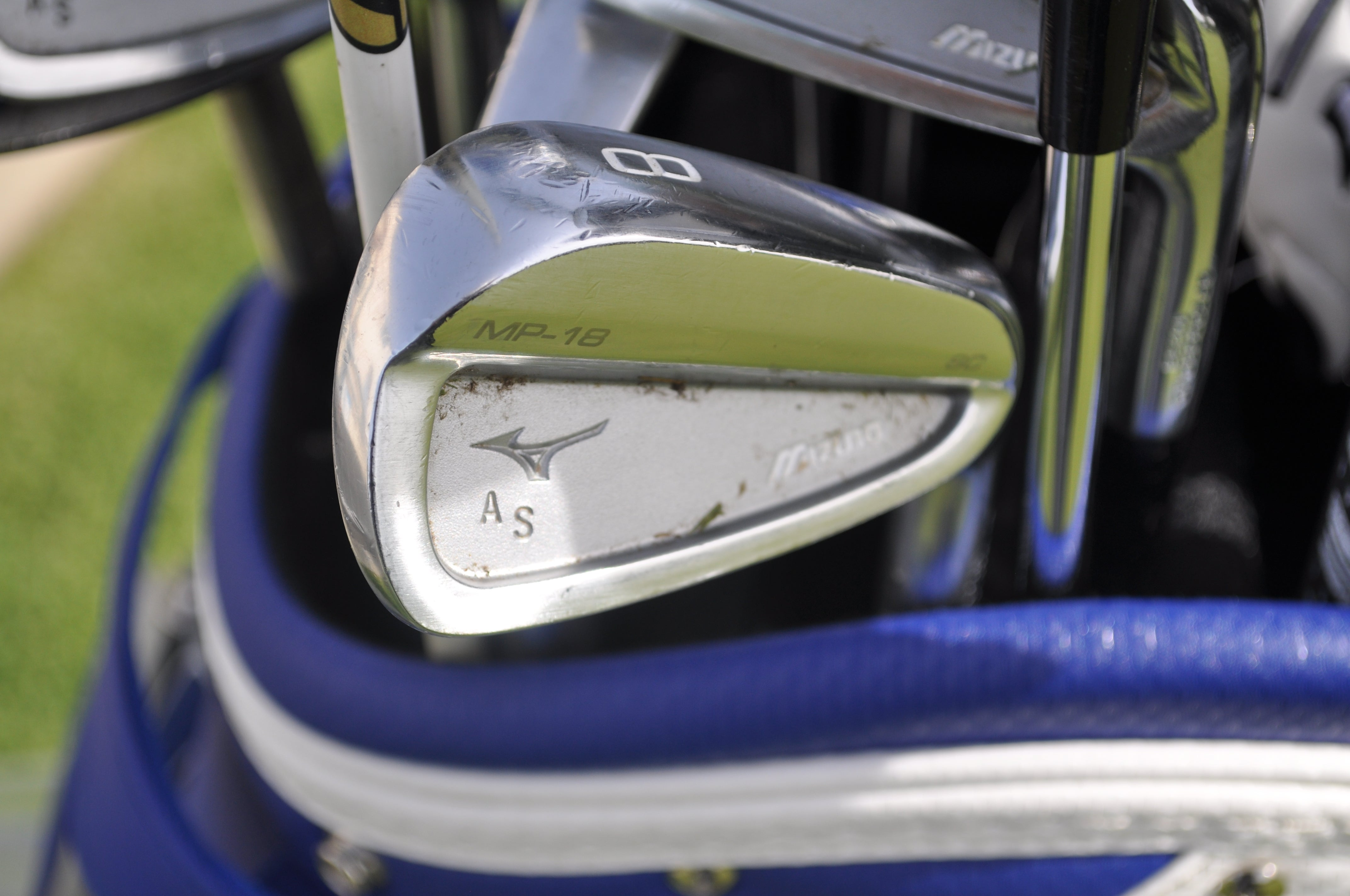 Adam Schenk's Mizuno MP-18 irons have his initials stamped in the cavity.